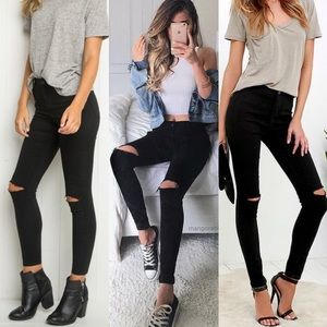 High Rise Black Skinny Distressed Jeans